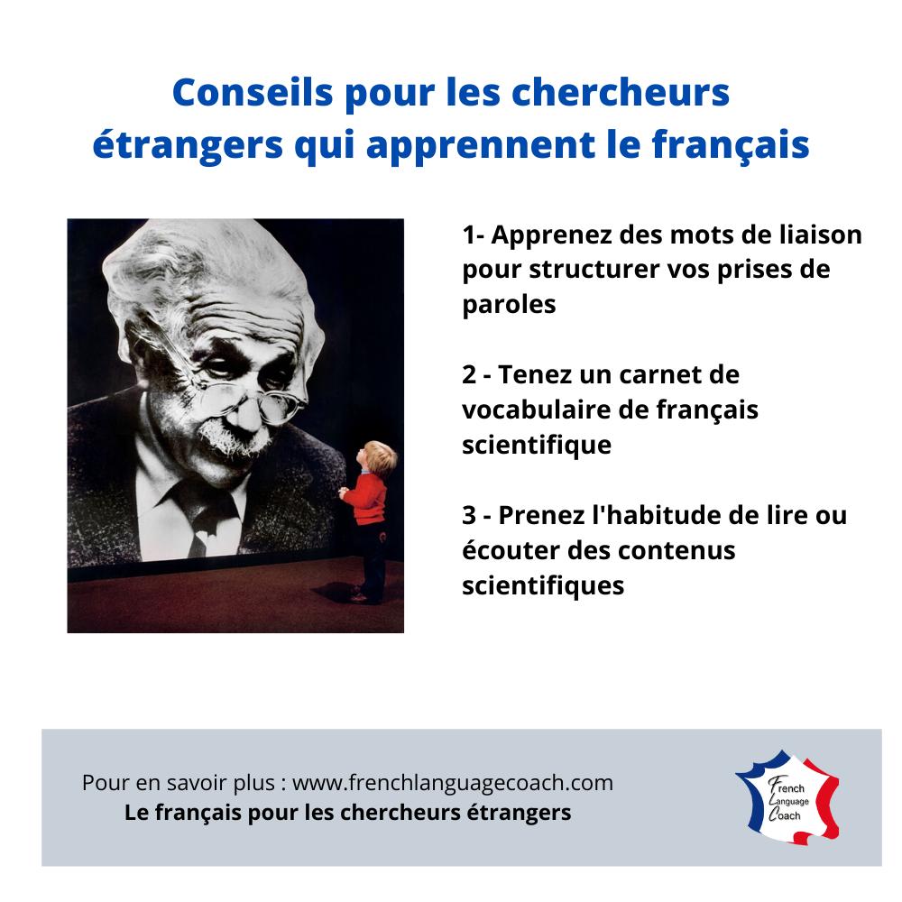 Conseils pour les chercheurs étrangers qui cherchent à progresser en français