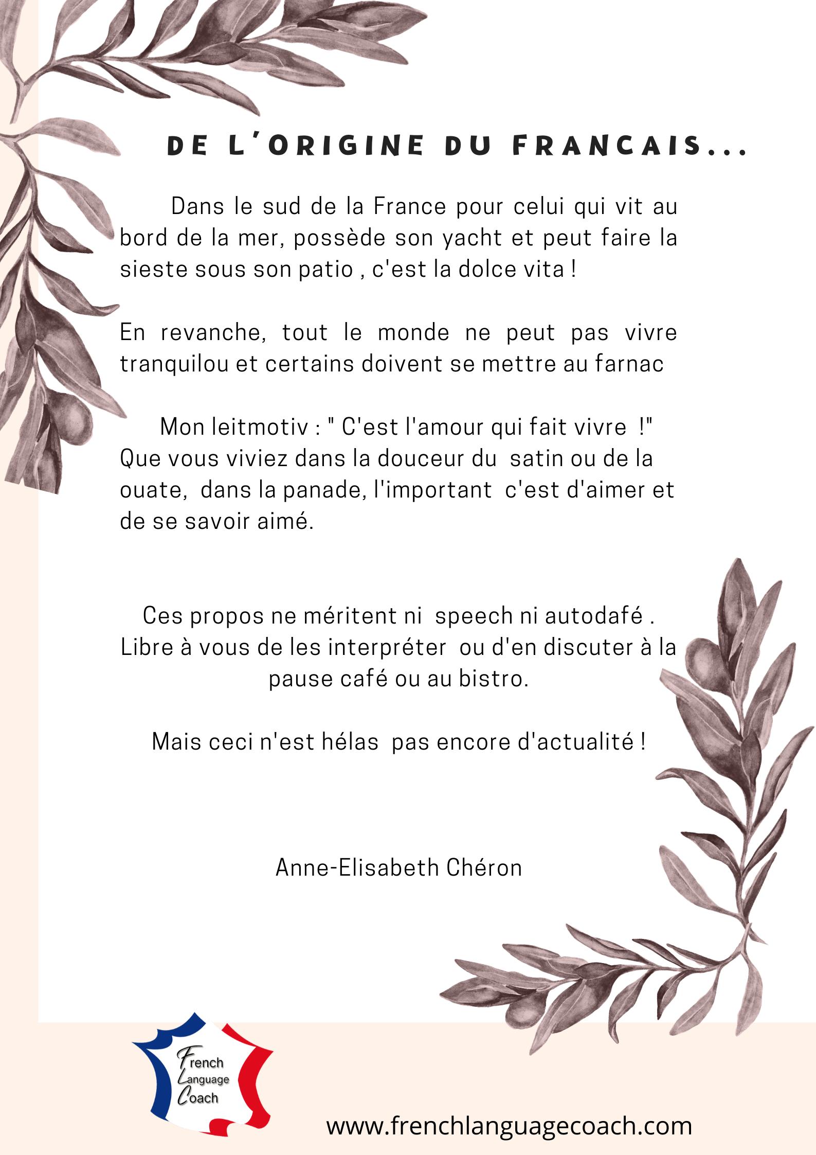 De l'origine du français
